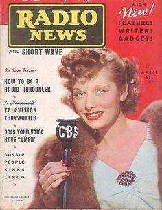 CBS RADIO - Lucille Ball on the air - Radio News magazine cover.