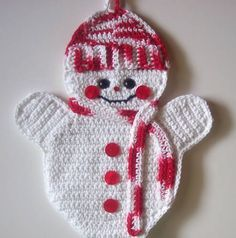crochet pattern for snowman potholder - Google Search