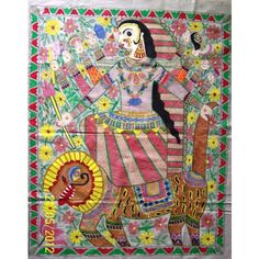 "Maa-Durga Madhubani painting- wall hanging . This exquisite item would surely catch everyones eye.The base of this painting is cream colored cotton fabric.  This wall hanging is a hand painted.Their is only one piece created in such pattern as such it is a unique product in itself.  Dimensions are 35"" x 29"".   Price: INR1500/-"