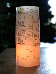 "Woodland Owl Luminary (drawn in pen, colored with pencils, and ""set"" with oil for extra luminescence).  Perfect for the dinner table once it starts getting dark early (which is fast approaching)."