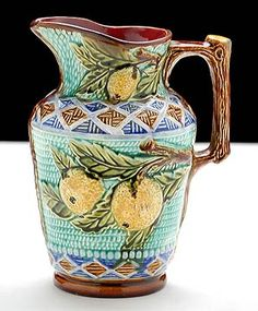 Belgian Antique Nimy-Les-Mons Majolica Pitcher with Oranges