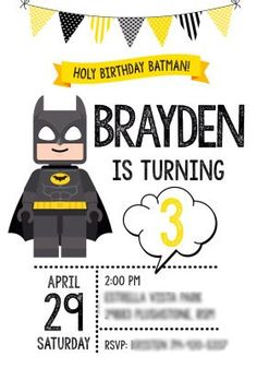 Lego Batman Birthday Party Invitation