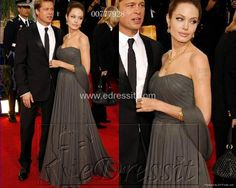 Free shipping drop shipping Angelina Julie Celebrity dress Red carpet dress Oscar Awards Grey Sweetheart  A Line Pleat Custome-in Celebrity-Inspired Dresses from Apparel & Accessories on Aliexpress.com $119.00