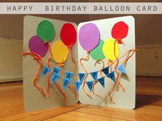 tarjeta cumpleaós con banderillas y globos