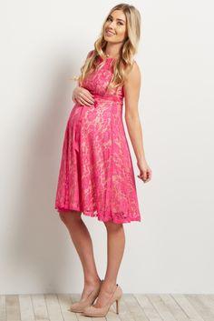 Pink Lace Overlay Sash Tie Maternity Dress f916dd71b