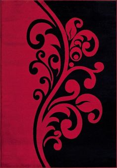 Red Black Damask Transitional Area Rugs