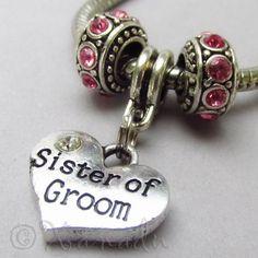 Sister of The Groom European Birthstone Trio For Large Hole Bracelets