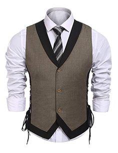 Men's Vintage Slim Fit Business Dress Suit Button Down Vest Waistcoat - Brown - Clothing, Suits & Sport Coats & Sport Coats Mens Clothing Chaleco Casual, Mens Sport Coat, Sport Coats, Mode Man, Waistcoat Men, Designer Suits For Men, Vest Outfits, Mens Clothing Styles, Men's Clothing
