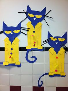 Pete the Cat - Four Groovy Buttons craft - precut shapes or templates, markers, buttons, pipe cleaners