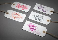 Beautifully lettered & letterpress'd gift tags by Alison Carmichael