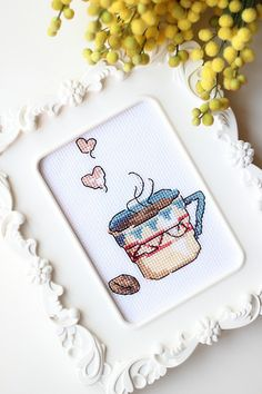 A cup of coffee - cross stitch