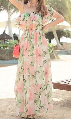 Bohemian flower print long chiffon beach dress 9870