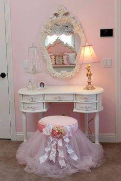 Shabby Chic pink ruffled stool