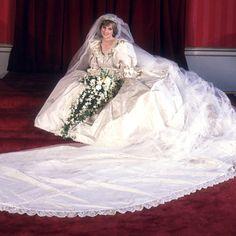 July 29, 1981    Wearing her now-famous wedding dress designed by David and Elizabeth Emanuel, Princess Diana sits for her formal wedding portrait on July 29, 1981.