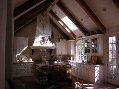 Hand Hewn Gable Kitchen Ceiling