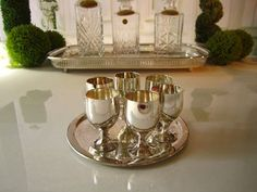Gorgeous Vintage Silver Plate Tray With 6 by InventifDesigns