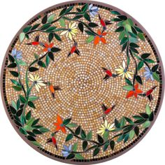 round mosaic table patterns | Neille Olson/KNF: KNF Caramel Hummingbird Mosaic Table