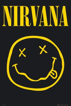 A great poster of a smiley face logo drawn by Nirvana front-man Kurt Cobain! Come as you are and check out the rest of our awesome selection of Nirvana posters! Need Poster Mounts. Rock Posters, Band Posters, Music Posters, Retro Posters, Nirvana Logo, Nirvana Band, Nirvana Tattoo, Nirvana Lyrics, Rock Logos