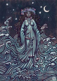 """the-torch-bearer: """"Yemoja """" Black Goddess, Goddess Art, Durga Goddess, Moon Goddess, Black Girl Art, Black Women Art, Black Art, African Mythology, African Goddess"""