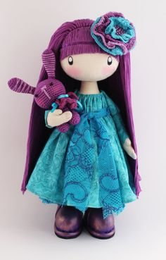 Doll Flossya purple and turquoise cloth doll doll in handmade