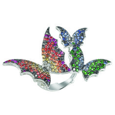 #StephenWebster Fly By Night 18K White #Gold & Multi-Stone #Butterfly #Ring