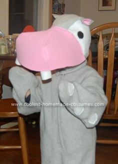 Homemade Hippo Costume: I love all the creative costumes on this site! Of all things, my son asked me to make a hippo costume for him last year.  I couldn't convince him to be