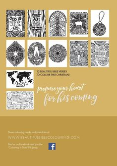 Back cover of the 'Glad Tidings' Christmas colouring ebook. So pretty