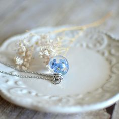Forget me not necklace real flower jewelry nature inspired , bridal jewelry nature necklace