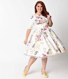 Plus Size Vintage Style Ivory Seville Floral Half Sleeve Hepburn Swing Dress