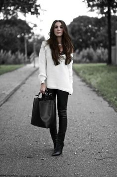 Over-sized Sweater with Leather pants!