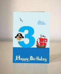 Handmade Pirate Birthday Card for little boys - party invite. £2.50, via Etsy.