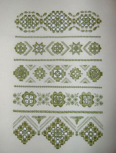 sampler (in Polish) Types Of Embroidery, Learn Embroidery, Embroidery Patterns, Hand Embroidery, Hardanger Embroidery, Cross Stitch Embroidery, Cross Stitch Boards, Drawn Thread, Bargello