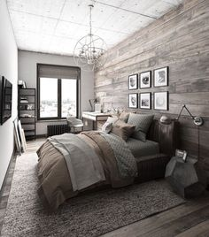 Rustic inspired condo bedroom
