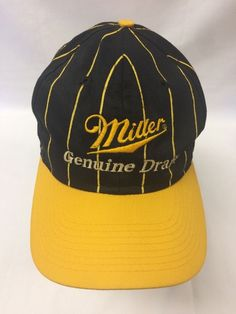 Vintage Miller Genuine Draft MGD Hat Snap Back Yellow Black Logo Baseball  Cap 5d57be1ff