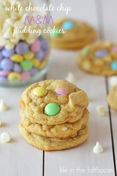 White Chocolate Chip and M&M Pudding Cookies - Life In The Lofthouse