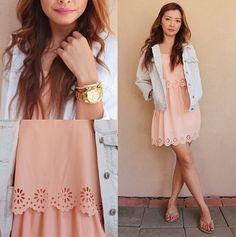 pink dress with denim jacket