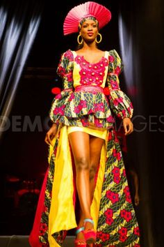 A model wears a piece from Senegalese designer Mamata Lopy's collection at Dakar Fashion Week. été 2012