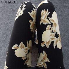 2017 New Floral patterned Printed Leggings Fashion Sexy Women Lady Slim Cotton Pants Black white Vintage graffiti trousers