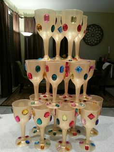 DIY Medieval Goblets! Gold wine glasses with jewels :)