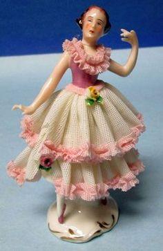 German Porcelain Dresden Lace Dancing Figurine   eBay