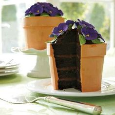 Blooming Flower Pot Cake Isn't it just too precious? This cake is sold through Williams Sonoma stores. It inspired me to make my own flower pot cake, which was a lot of fun! Pretty Cakes, Cute Cakes, Beautiful Cakes, Amazing Cakes, Beautiful Gorgeous, Food Cakes, Flower Pot Cake, Flower Pots, Flower Cakes