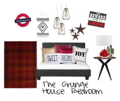 The Grunge House: Bedroom by quirkymusicnote on Polyvore featuring interior, interiors, interior design, home, home decor, interior decorating, Kate Spade, Universal Lighting and Decor, Dot & Bo and The Rise and Fall