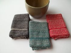 Dishcloths Knit in Cotton by The Needle House in an Oatmeal Combination $10.00