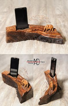 Wood iPhone Stand. Smartphone Stand. Phone stand by ModernhomeDeco