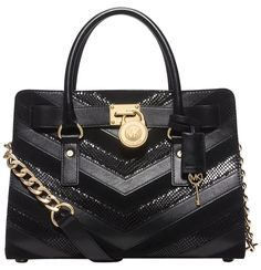 Michael Kors Hamilton Chevron Mixed Media East West Black Satchel. Save 37% on the Michael Kors Hamilton Chevron Mixed Media East West Black Satchel! This satchel is a top 10 member favorite on Tradesy. See how much you can save