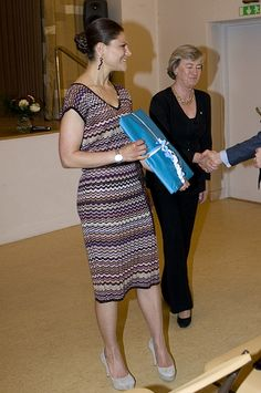 Crown Princess Victoria wearing a Missoni for Lindex dress and By Malene Birger Elliat Court Pumps.