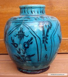 turquoise persian pottery | Antique Persian Kashan Ancient Pottery Turquoise Glazed Vase Middle ...