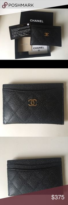 Chanel Caviar Card Case 100% Authentic Chanel Card Holder in black with gold hardware. Comes with box, serial number and card attached. CHANEL Bags Wallets