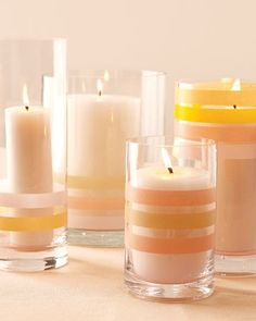 washi tape-decorated candles