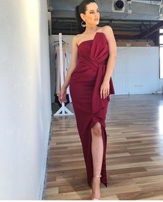 A gorgeous full length dress by Australian designer Samantha Rose. A strapless style featuring ruffle on the neckline and waist. Wine Bridesmaid Dresses, Ruffles, Stylists, Neckline, Formal Dresses, Design, Style, Fashion, Dresses For Formal